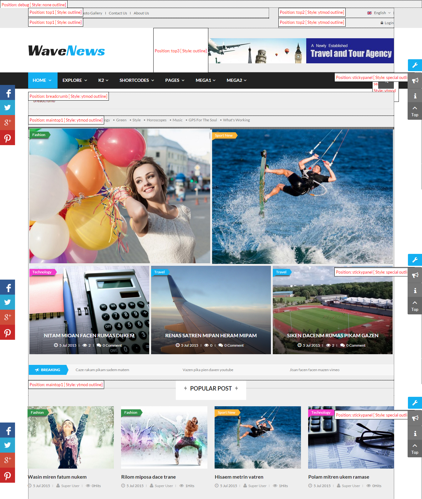 Sj Wavenews Responsive Joomla Template